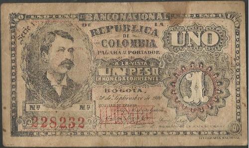 Imagen 1 de 2 de Banco Nacional 1 Peso 30 Sep 1900 Serie I P270