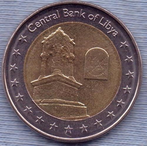 Libia 1/2 Dinar 2014 Bimetalica * Monumento De Guirza *