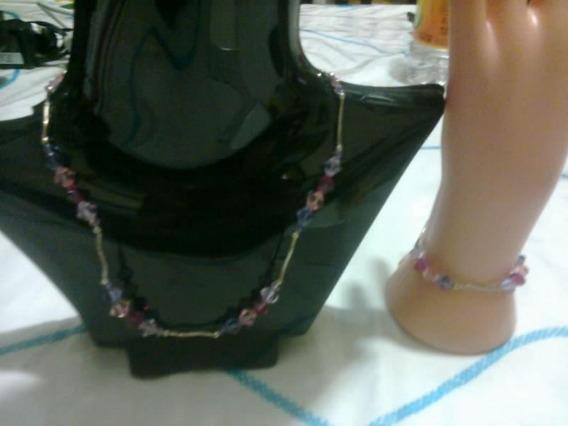 Coordinado De Collar, Y Pulsera De Plata Morado