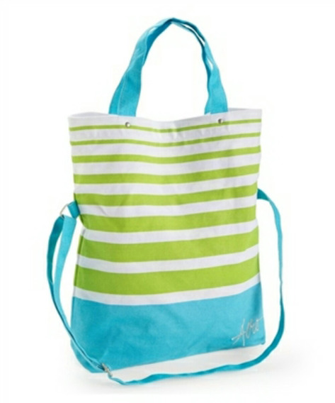 Bolsa Feminina Aeropostale Striped Fold-over - Azul E Verde