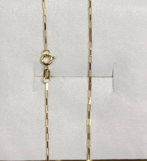 Corrente De Ouro 18k 750 50cm Feminino Masculino 1mm Cordão De Ouro 18k Cadeado Quadrado