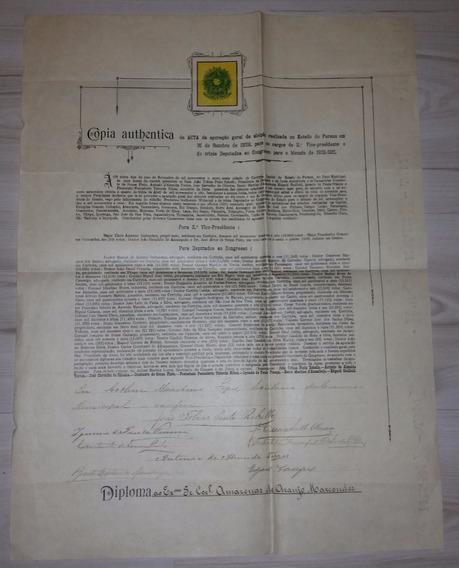 Documento Histórico De Amazonas De Araújo Marcondes Ano 1909