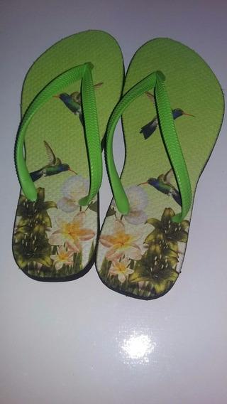 Chinelo Personalizado Beija-flor Verde