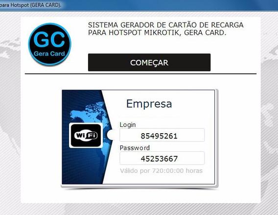Hotspot Inteligente,sistema Gerador De Cartão.