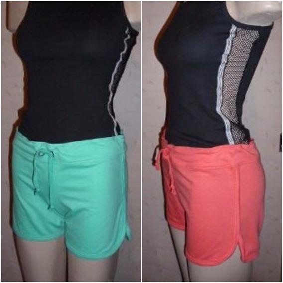Shorts Algodón Lazo Para Ajustar Ondas Tiro Medio Vs Colores