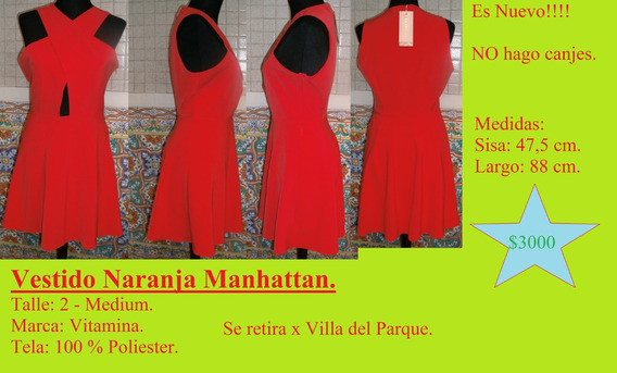 Vestido Manhattan. Talle 2 - Medium. Marca Vitamina