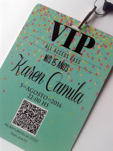 Invitaciones Vip 15 Años Tarjetas C/cordon C/mosqueton X50
