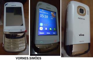 Celular Nokia C2-02 Branco E Dourado C Câmera Memória Blueto