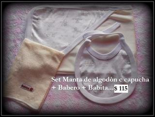 Manta Recibidora Con Capucha + Babero Mismo Diseño+babita