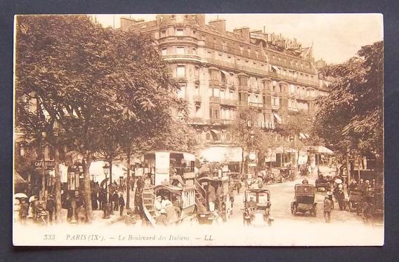 Postal Francia Paris Bulevar De Los Italianos Usada Ex 1912