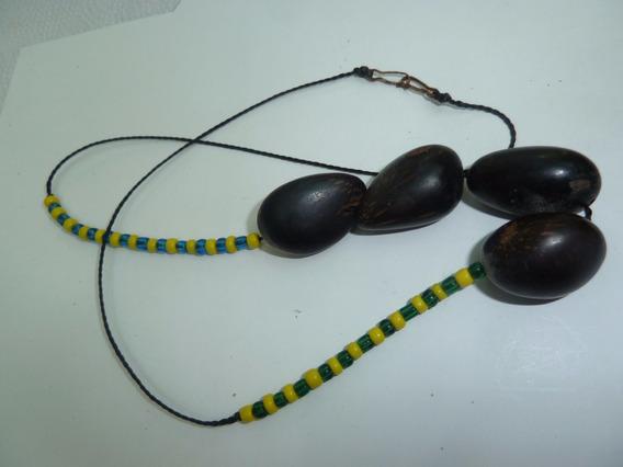 Colar Cordão Preto 50cm Missangas Verde Amarelo Sementes