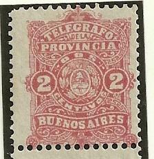 Estampilla Telegrafo Nacional Buenos Aires 1888 2 Centavos