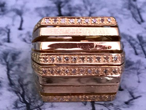Anel Em Ouro 18k-750 Com Brilhantes Aro 16/18 Peso: 13.4 G