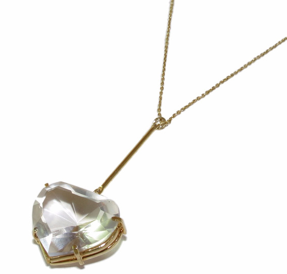 Colar + Pingente Cristal Coração Folheado A Ouro 18k