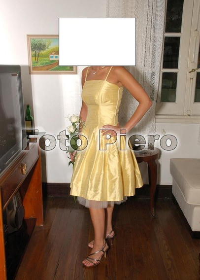 Vestido De Fiesta Corto, Solo Una Postura, Color Amarillo