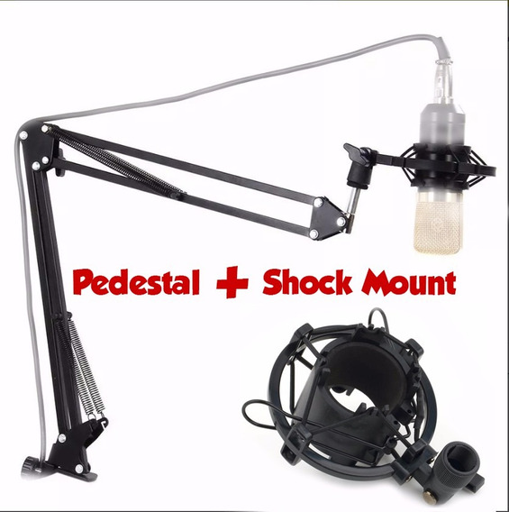 Pedestal Articulado + Shockmount + Pop Filter Dupla Camada