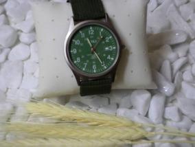 Relógio De Pulso Militar Japan Pulseira Nylom Verde