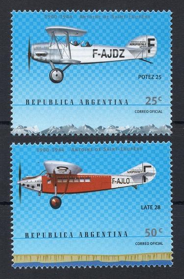 Argentina 2000 Gj 3053/4** Mint Saint- Exupéry Aviones A