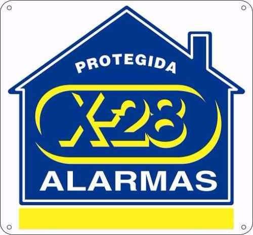 Cartel Seguridad Propiedad Protegida Alarma X-28 S/env Full