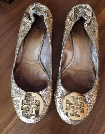 Zapatos Flat Tory Burch 7.5 Originales Dorados Usado