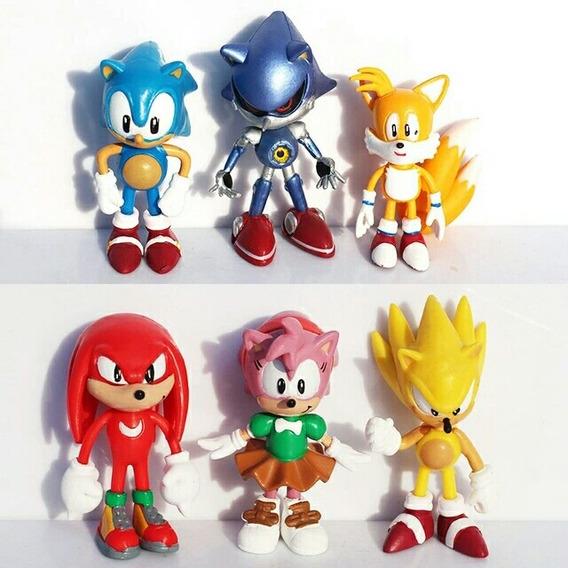 Coleção 6 Bonecos Miniaturas Sonic The Hedgehog Amy Tails