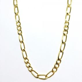 Corrente Masculina Dourada 60cm Grossa Banhada A Ouro