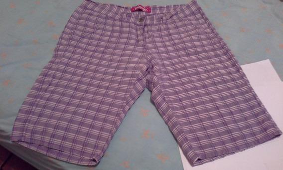 Pantalon Bermuda A Cuadros Elastizado Con 2 Bolsillos