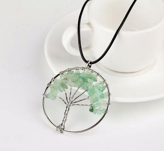 Colar Árvore Da Vida Pedra Quartzo Verde Cordão Preto Cl 1