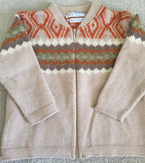 Sweater Zara Kids Lana Con Cierre Talle 3 Abrigado Beige