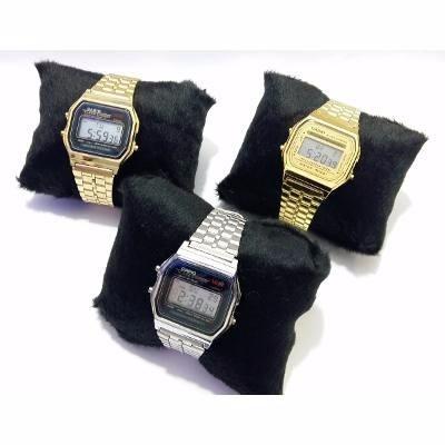 Relógio Aço Casio Dourado Prata Unissex C/ Caixa Acrilica