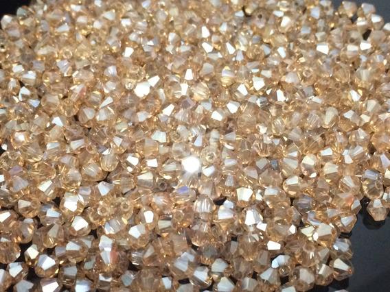 5000 Pedras Cristal Swarovski 4mm Champanhe Boreal Creme