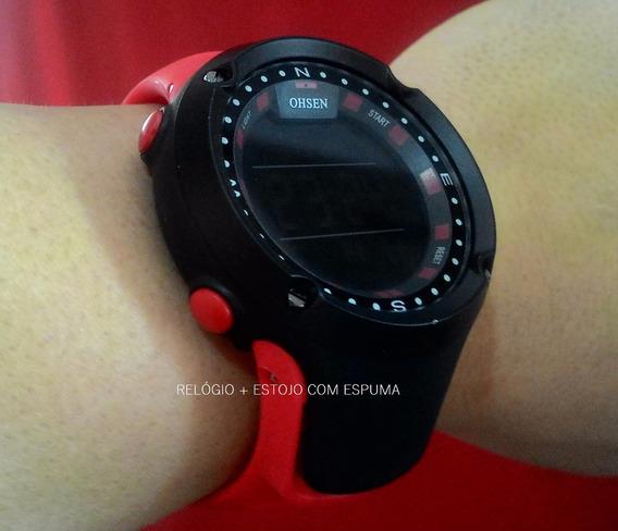 Relógio Preto Vermelho Led Digital Masculino Feminino Ad1510