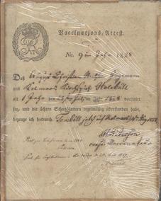 Documento Raro Brasonado Certidão De Vacinação Ano 1847