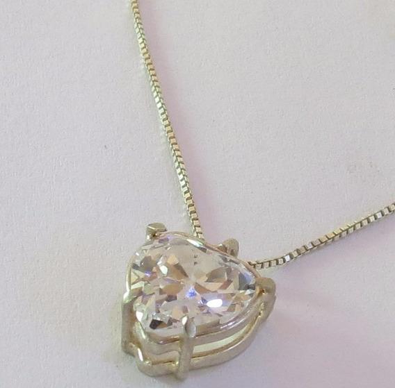 Colar De Prata 925 Com Cristal Coração - Tudo Em Prata 925