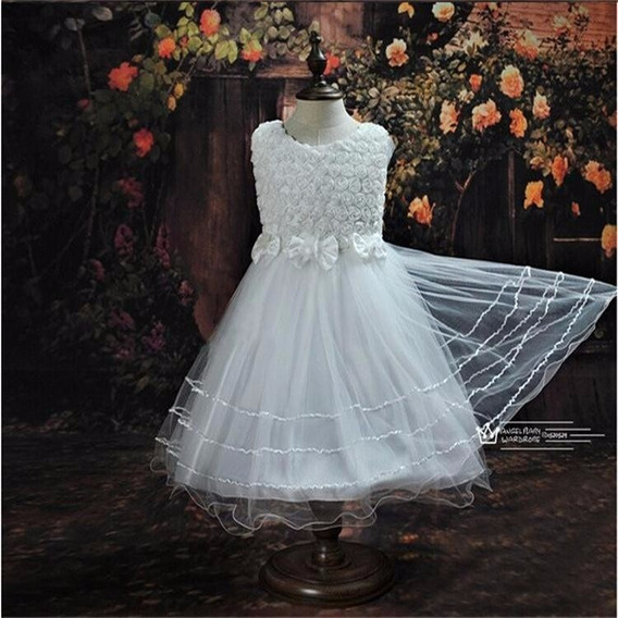 Vestido Baile Infantil Com Perola Branco Ou Rosa