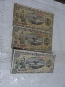 3 Billetes Gobierno Provisional De Mexico, De 2 Pesos