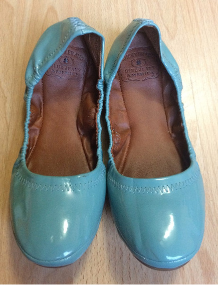 Zapatos Flats Lucky Brand Piel Patent Classics Azul Cielo!!!