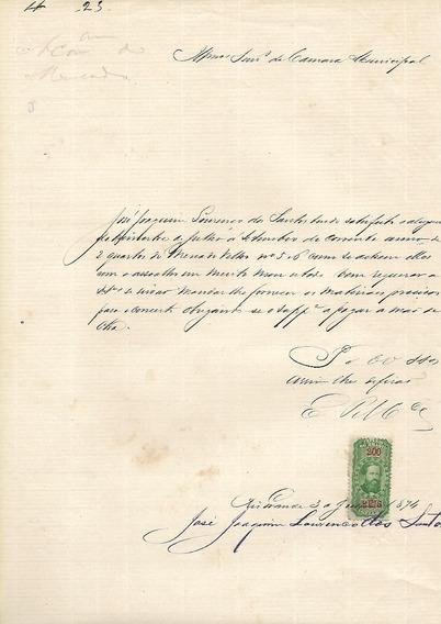 Recibo De Aluguel- Rio Grande -3 Julho 1874 C/selo Fiscal