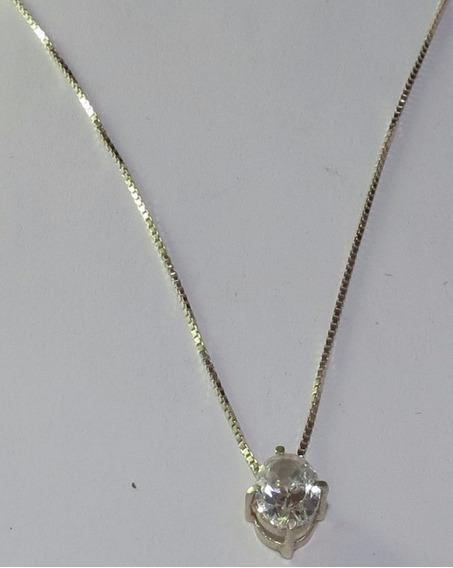 Colar De Prata 925 Cristal 0,85 X 0,7 Cm - Tudo Em Prata 925
