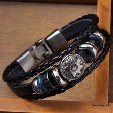 5-pulseiras De Couro Genuíno Dos Homens Do Vintage Jóias