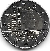 Moneda Luxemburgo Bimetalica 2 Euro Año 2014 Independencia