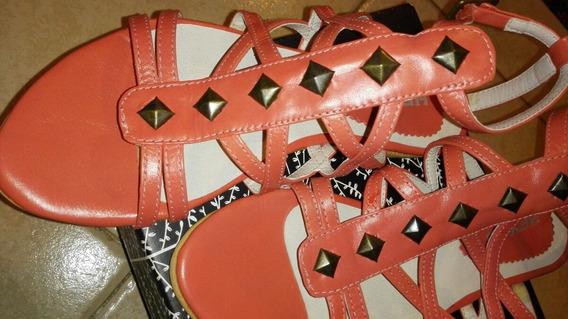 Sandalias Romana Color Coral Con Tachas