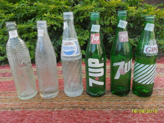 Lote D 6 Antiguas Botellas Gaseosa Seven Gini Pepsi Crush 10