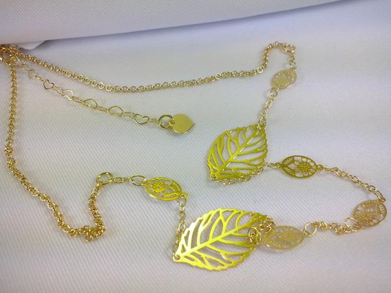 Cordão Flor Feminino Romântica Charmosa 18k Folheado Ouro