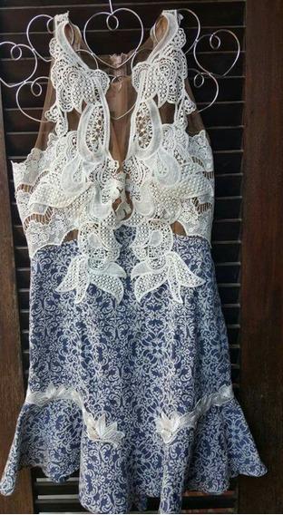 Vestido Jacquard Peplun - Cabocla Costas Nuas Renda Gruipur