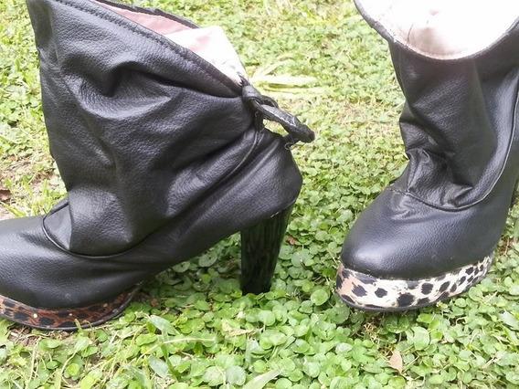 Botas Arrugadas De Lazo Con Plataforma Negras Taco 9 Cm 38
