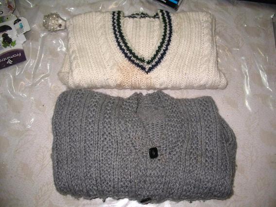 2 Sweaters Pulloveres Lana Tejido A Mano Niño A Y Gris Leer