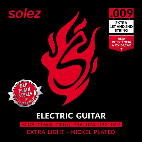 Imagem 1 de 3 de Encordoamento P/ Guitarra Solez 009 C/ 2 Cordas Extra