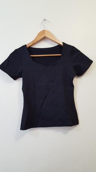 Blusa Camiseta Feminina Malha Preta Manga Curta