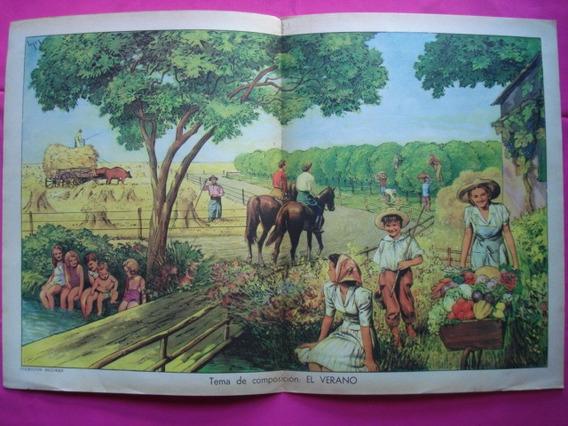 Antigua Lamina Coleccion Billiken, Tema: El Verano